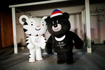 The mascots for the 2018 Pyeongchang Winter Olympics ''Soohorang'' and ''Bandabi'' (R) are seen during their launching ceremony in Pyeongchang, South Korea, July 18, 2016.