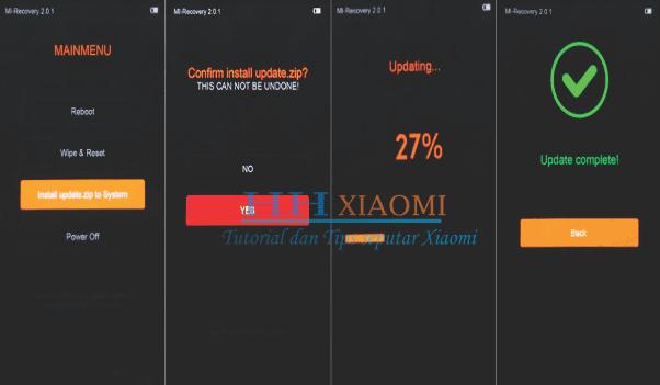 update rom xiaomi redmi 3S / 3X / 3S Prime  melalui aplikasi  pemulihan system