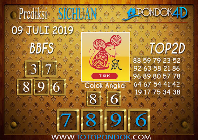 Prediksi Togel SICHUAN PONDOK4D 09 JULI 2019