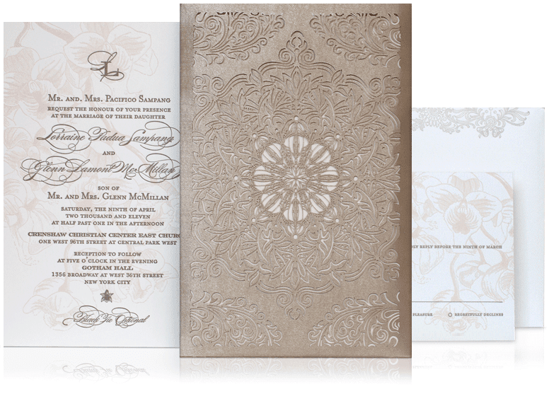 Traditional Elegant Wedding Invitations: Pocket Wedding Invitations: Traditional Wedding Invitations