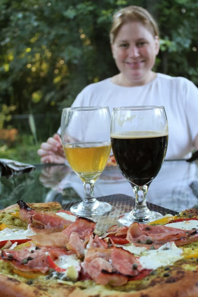Pizza and beer at the Blooms