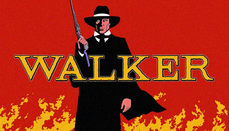 Walker (1987) von Alex Cox. Posterdetail. Quelle: In-Cine Compañía Industrial Cinematográfica / Northern Walker Films Ltd.