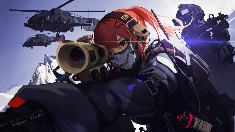 Anime, Girl, Sniper, Military, Soldier, 8K, #319