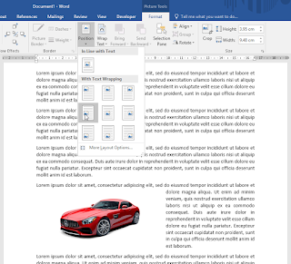 Mengatur posisi gambar dengan With Text Wrapping