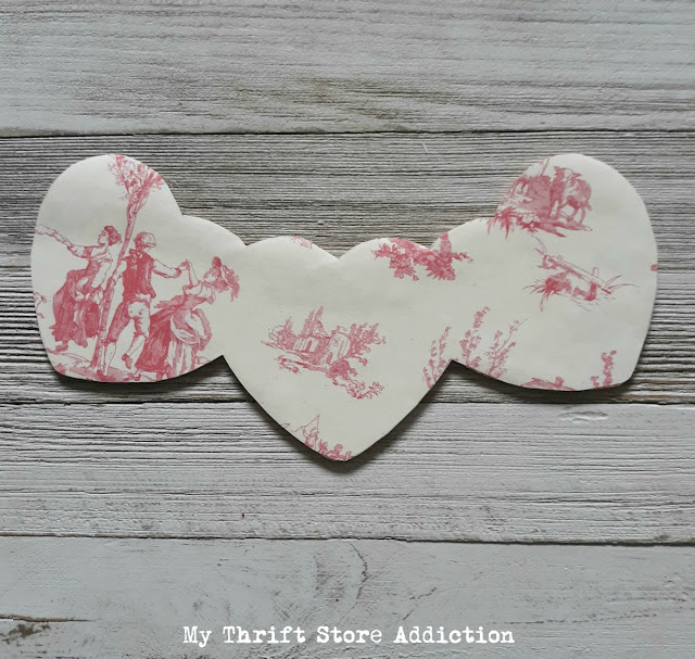 romantic toile heart upcycle