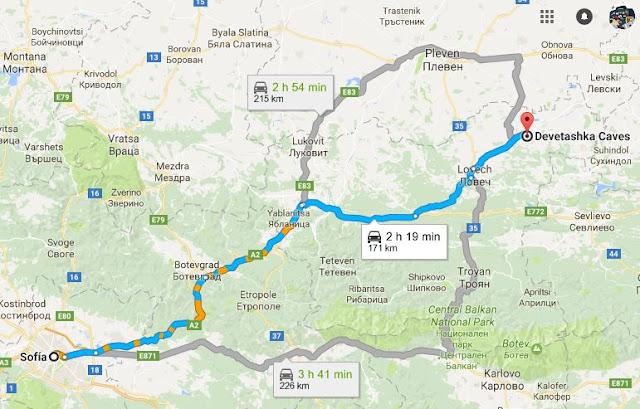 Itinerario en coche de Sofia a Devetashka Caves en google maps