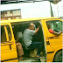 Fuel Scarcity; White Man Enjoys Himself As He's Transported In A Danfo Bus In Lagos.