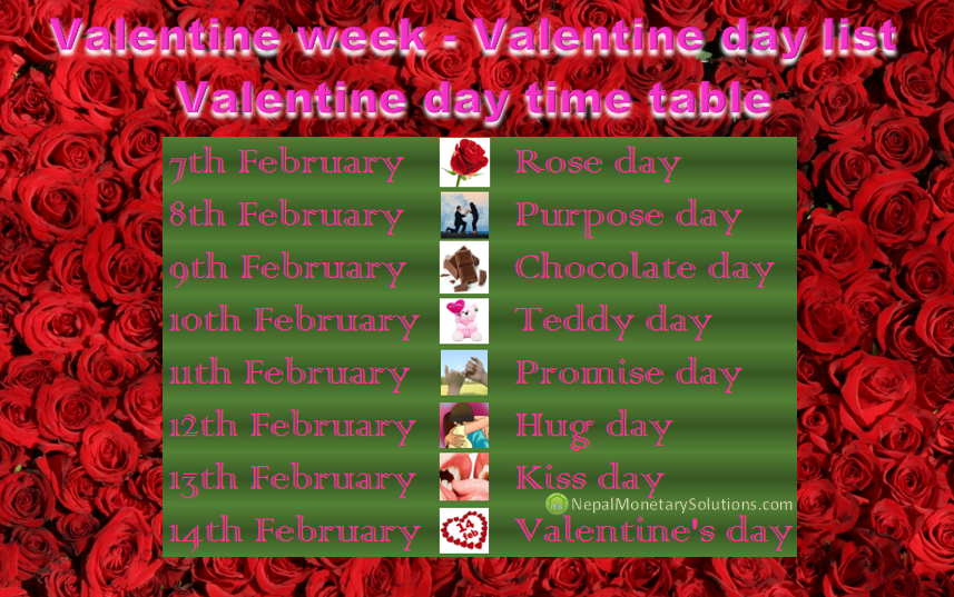 Valentine Week Valentine Day List Valentine Day Time Table