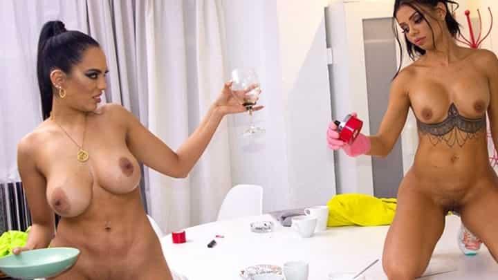 Canela Skin And Katrina Moreno in Double Maid Anal Fucking - Bang Bros