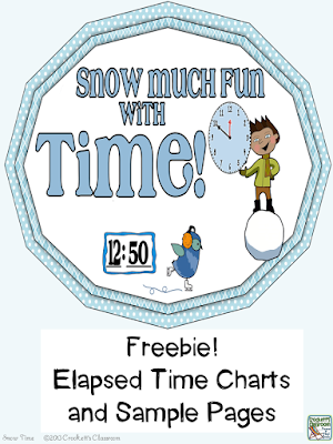 Free posters for teaching the strategies for figuring elapsed time from Crockett's Classroom