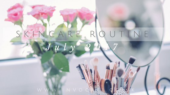 Title image: pink flowers and some makeup brushes with the text skincare routine July 2017