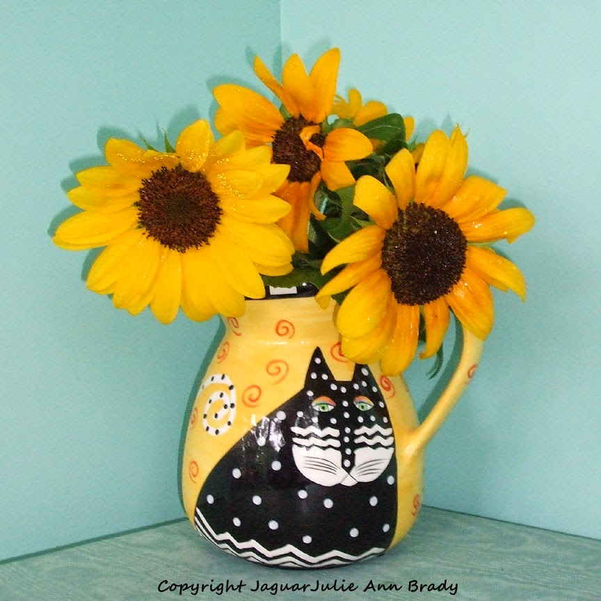 Sunflowers in a Laurel Burch Cat Ceramic Vase
