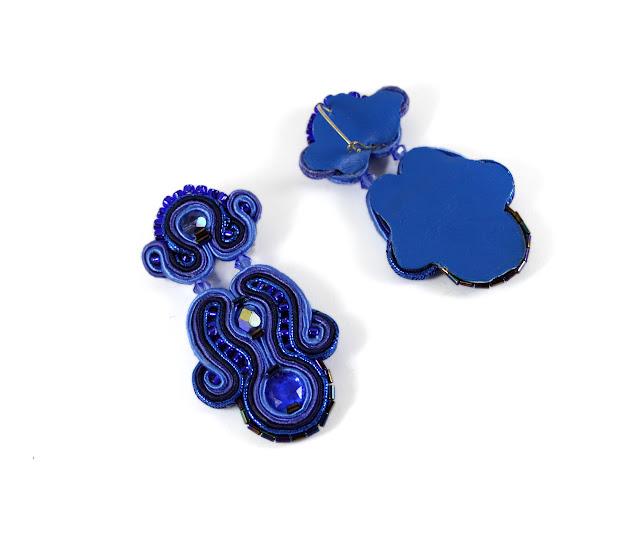 Elegant earrings, blue cobalt soutache, handmade jewelry, long drop earrings