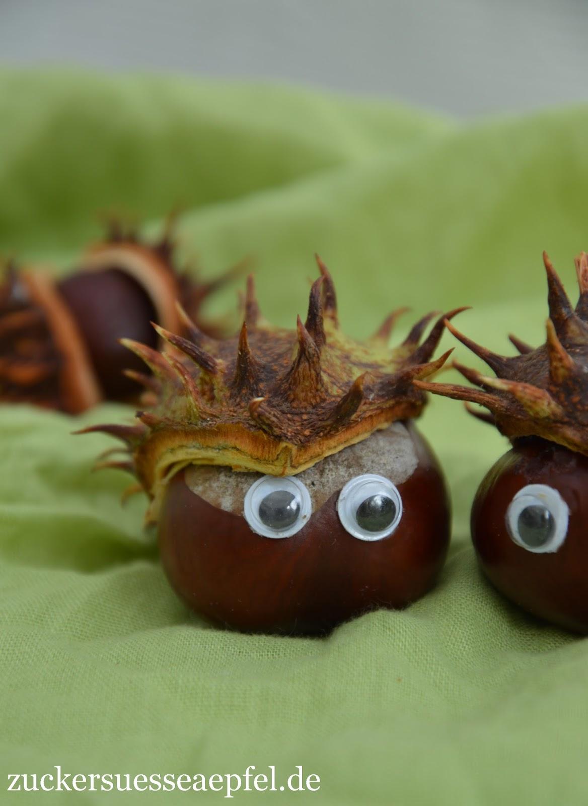 Kinderleichte Kastanienigel Basteln Zuckersüße äpfel