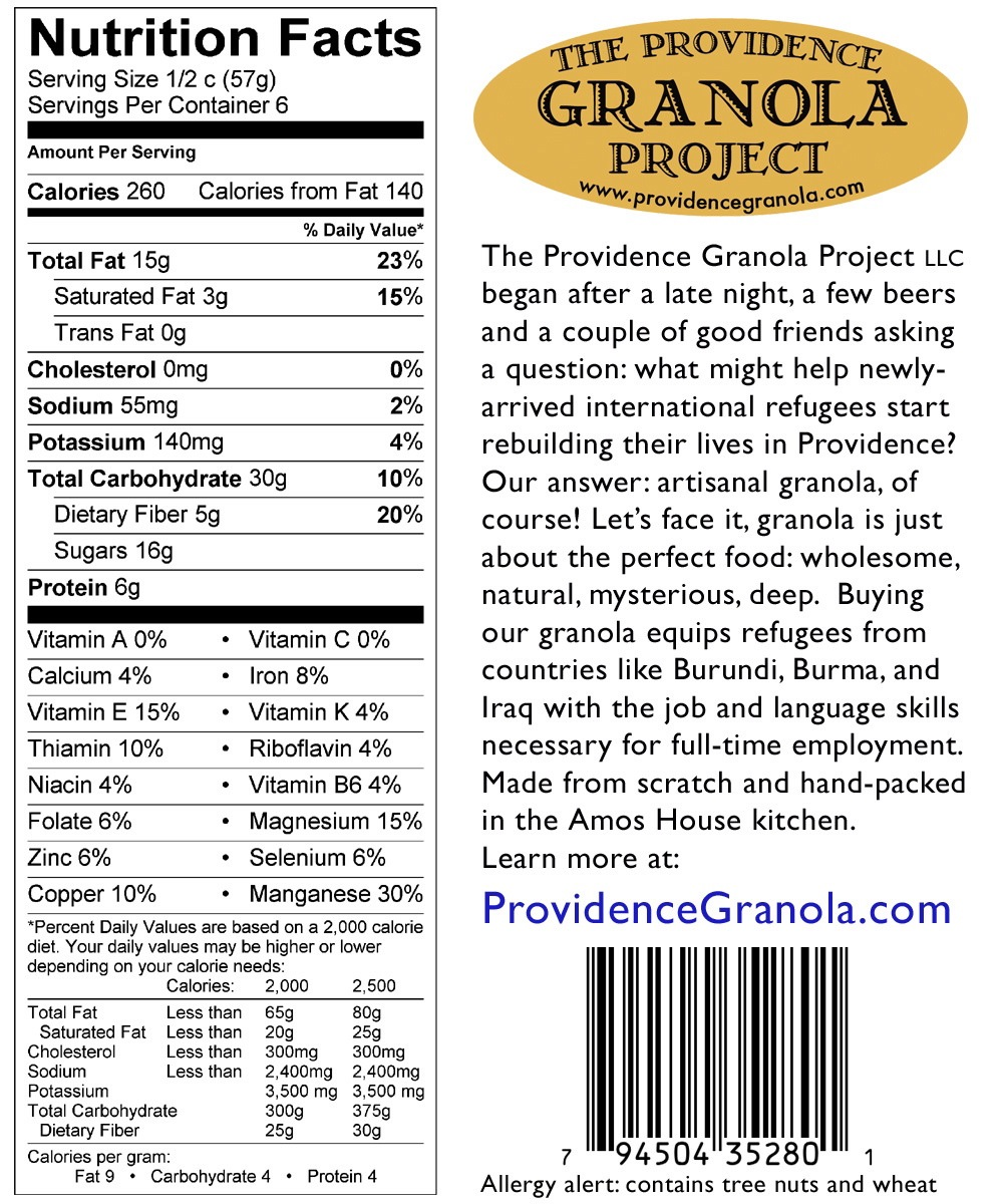 Granola Nutrition Facts Label