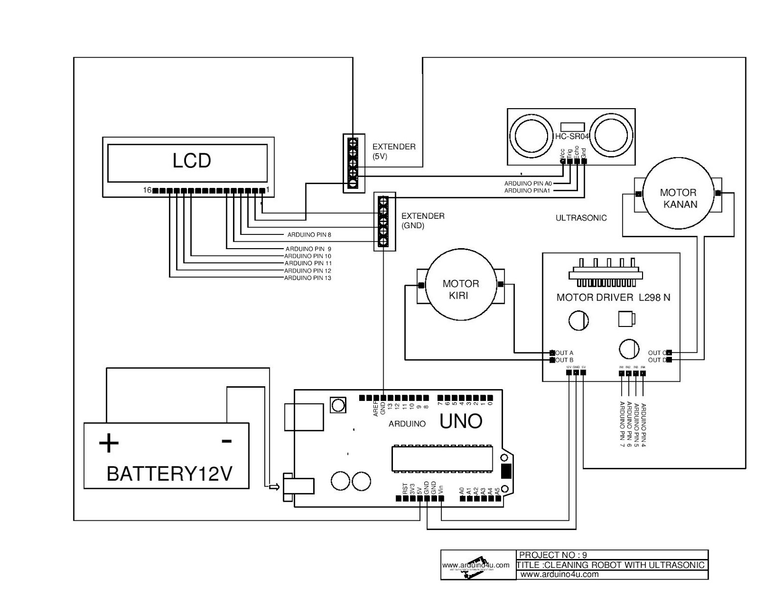 Projek Elektronik Arduino4u 9 Robot Pencuci Lantai
