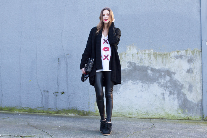 Vancouver Fashion Blogger, Alison Hutchinson, is wearing a rocker casual look styled using pieces from Daysen Winter: MinkPink sweater, Chaser Tee, Aritzia leather leggings, Isabel Marant Sneakers, Rag & Bone Bag, Sahsa Eillenna Necklace