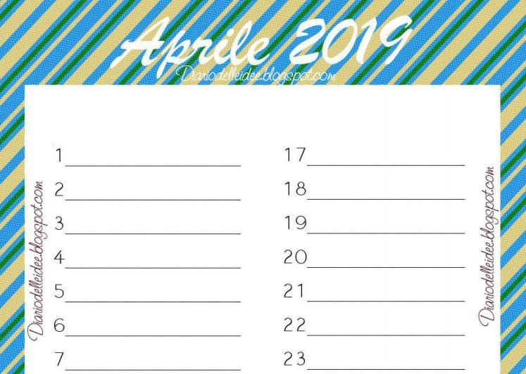 Calendario Mese Di Luglio 2019 Da Stampare.Diario Delle Idee Calendario Aprile 2019