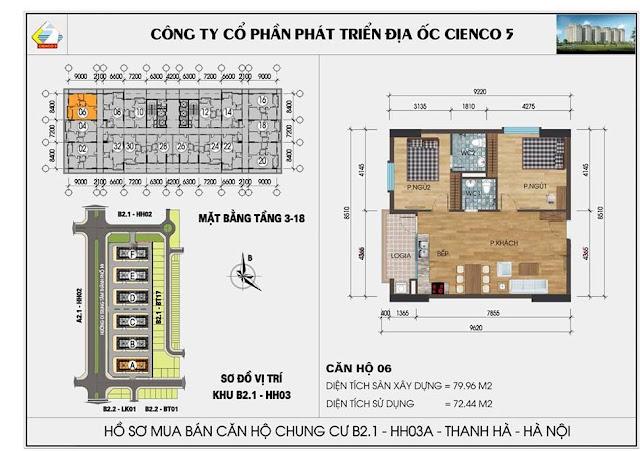 Sơ đồ thiết kế chi tiết căn hộ 06 chung cư B2.1 HH03 Thanh Hà