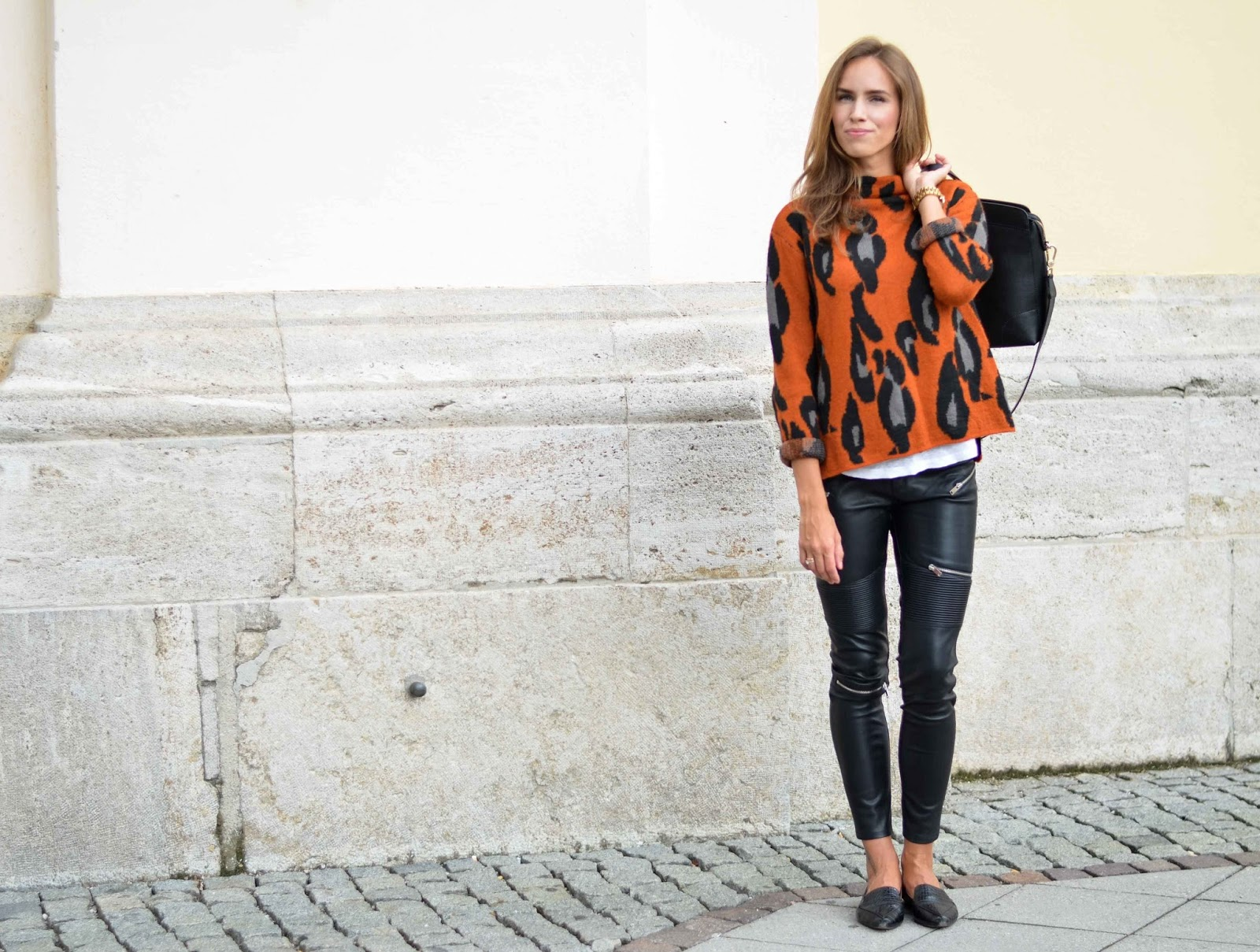 kristjaana mere lindex cardigan zara leather pants fall outfit inspo