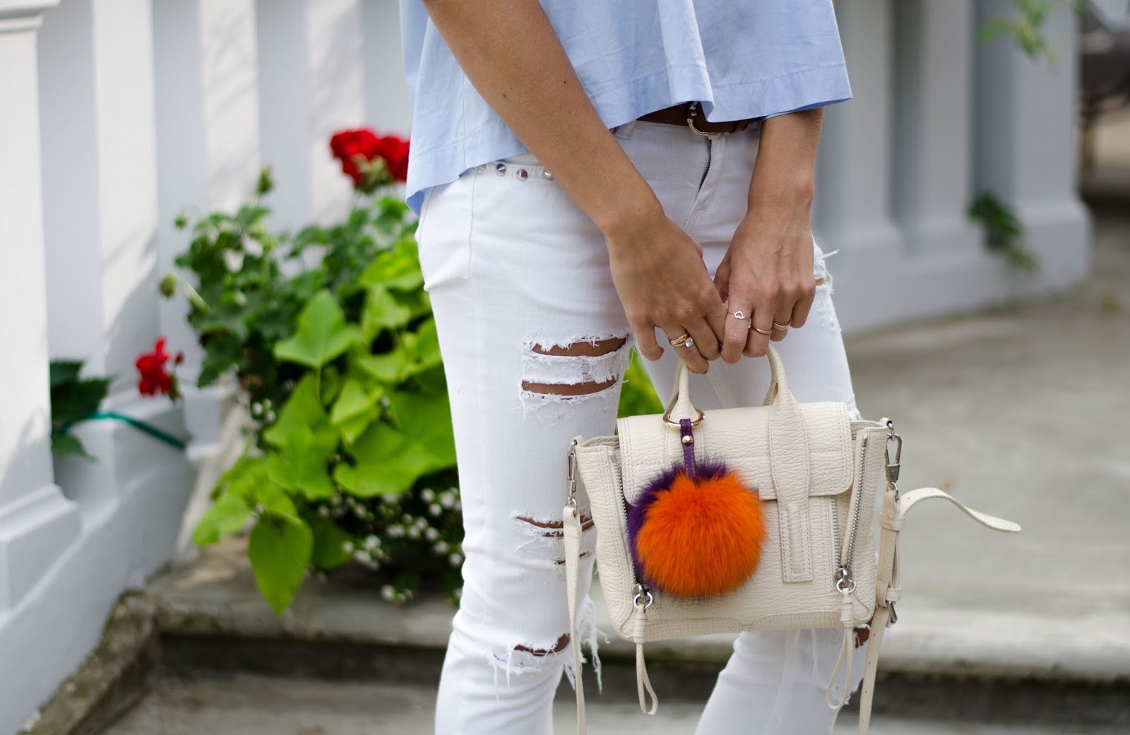 3.1 phillip lim mini pashli bag with pom pom keyring