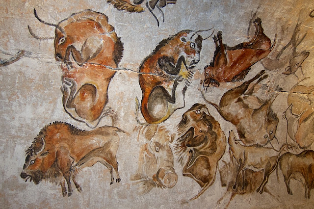 Bison paintings in the Cave of Altamira in Spain
