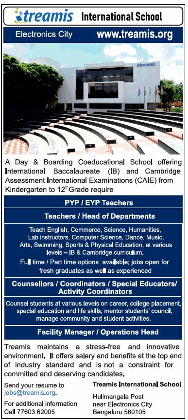 PYP/EYP Teachers Jobs in Treamis International School 2019 Recruitment ,Bangalore