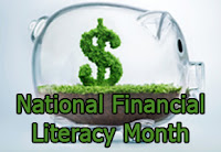 National Financial Literacy Month piggy bank with dollar sign