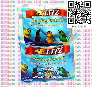 Blitz Doping Instant mengandung TESTOSTERON yang berfungsi untuk merangsang burung agar rajin berkicau sehingga dapat bersuara secara lantang dengan power maksimal