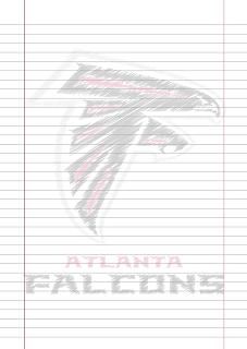 Papel Pautado Atlanta Falcons rabiscado PDF para imprimir na folha A4