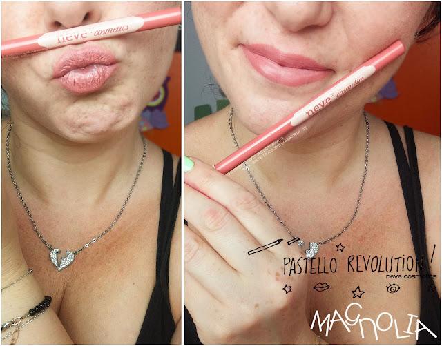 magnolia applicazione makeup BioPastello labbra Neve Cosmetics  pastello revolution