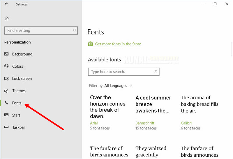 Windows 10 preview build 17083 brings a new 'Fonts' settings page