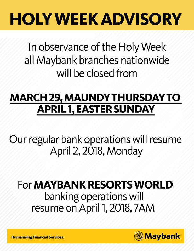 Maybank Holy Week 2018 schedule