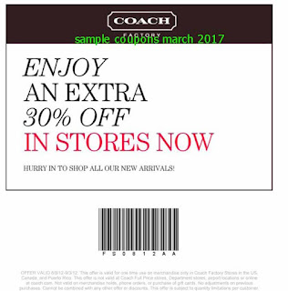 Coach coupons for march 2017