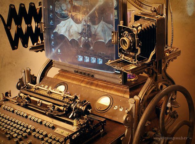 Computadora estilo steampunk de ciencia ficción