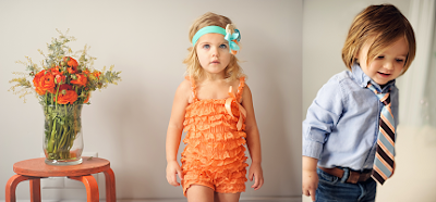peachy keen romper and boys tie