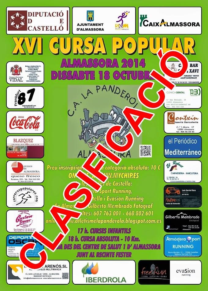 CLASIFICACIÓ XVI CURSA POPULAR ALMASSORA 2014