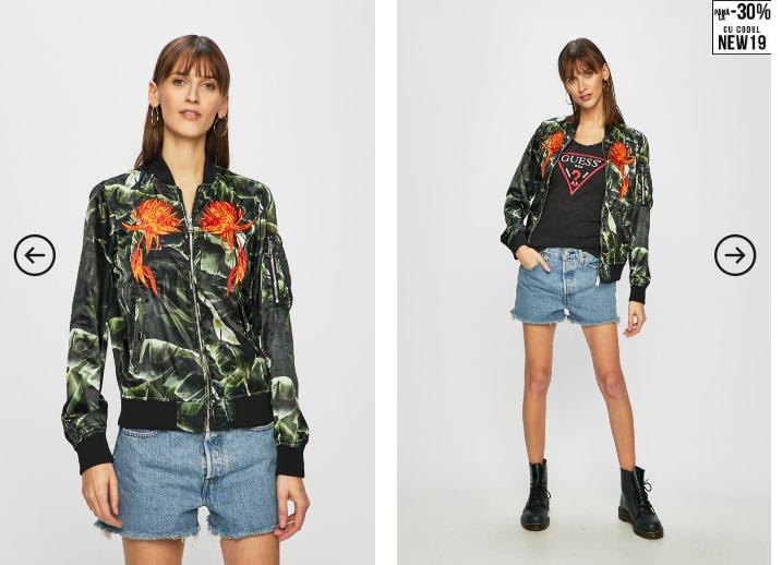 Guess Jeans - Geaca bomber de dama cu imprimeu modern colorat