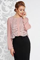 Bluza dama rosa eleganta din voal cu croi larg suprapunere cu dantela
