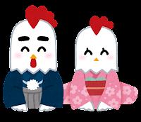 新年の挨拶のイラスト(鳥・ペア)