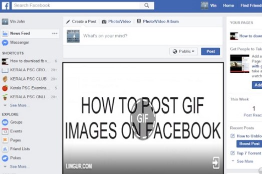 post gif on facebook page