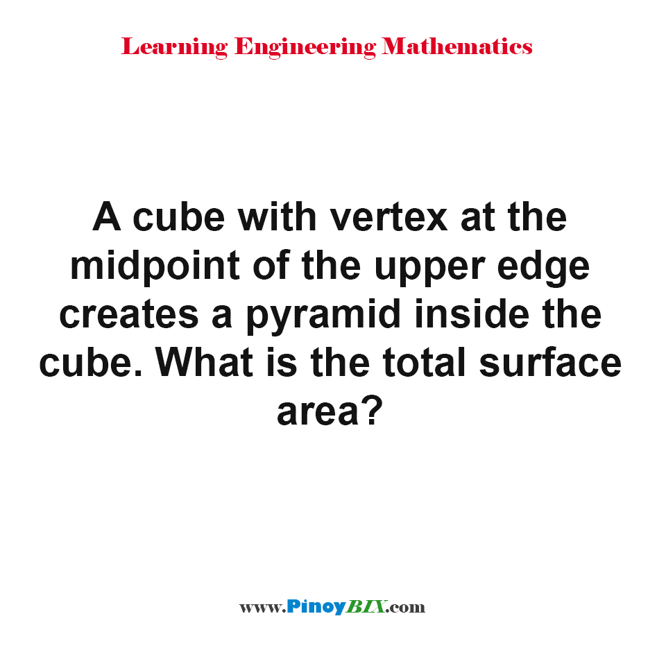 What is the total surface area of a pyramid inside the cube?