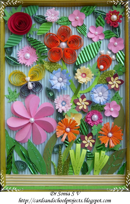 Cards Crafts Kids Projects Quilled Flower Blooms On Recycled Clock