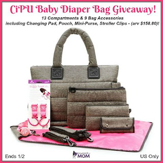 Enter the CiPU Baby Diaper Bag Giveaway. Ends 1/2