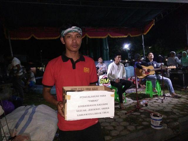 Aksi penggalangan dana di simpang empat Masbagik