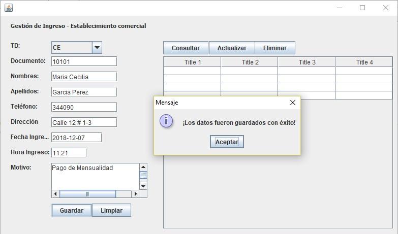 CRUD en Java insertar registros