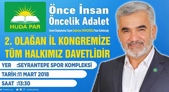 HÜDA PAR Diyarbakır 2. Olağan İl Kongresi 11 Mart'ta yapılacak