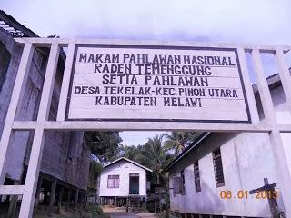 Pintu masuk makam Raden Temenggung Setia Pahlawan