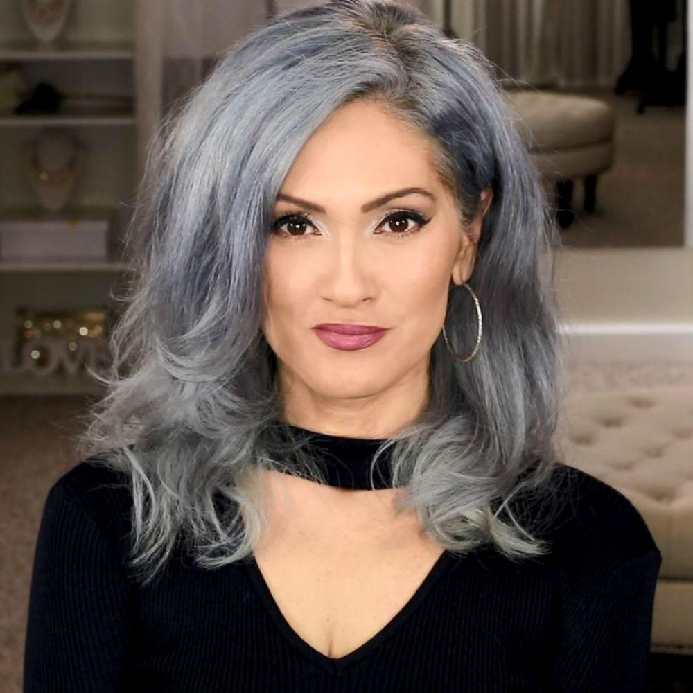 Dark grey hair with black roots   Dark grey hair, Grey ...  Dark Grey Hair