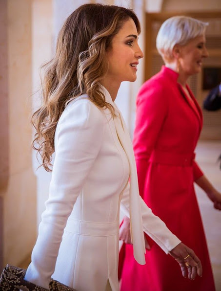 Queen Rania meets,  First Lady Agata Kornhauser style wore gianvito rossi shoes, Prada dress, diamond earrings, J.Crew closet